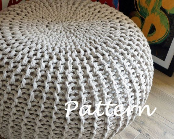 Knitting Pattern Knitted Pouf Pattern Poof Knitting