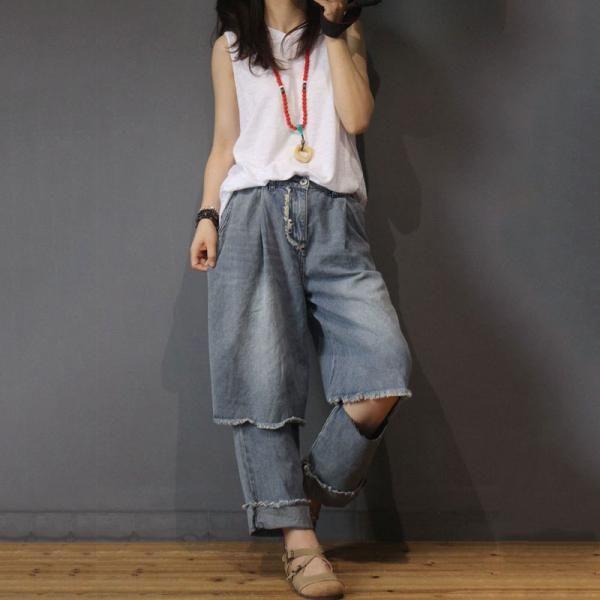 7b10c711b59 Korean Style Raw Hem Ripped Jeans Fashion Baggy Jeans   Morimiss ...