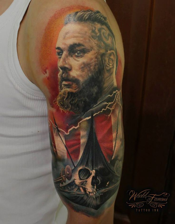 193 best images about sleeve tattoo on pinterest tattoo for Ragnar head tattoo stencil