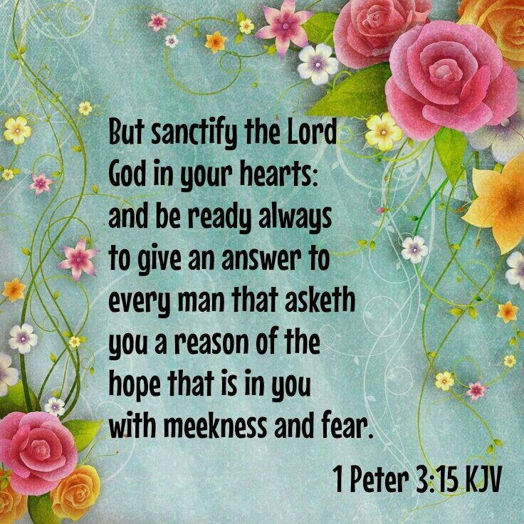 """""""But sanctify the Lord God in your hearts: and be ready always to give an answer to every man that asketh you a reason of the hope that is in you with meekness and fear:"""" 1 Peter 3:15 KJV"""