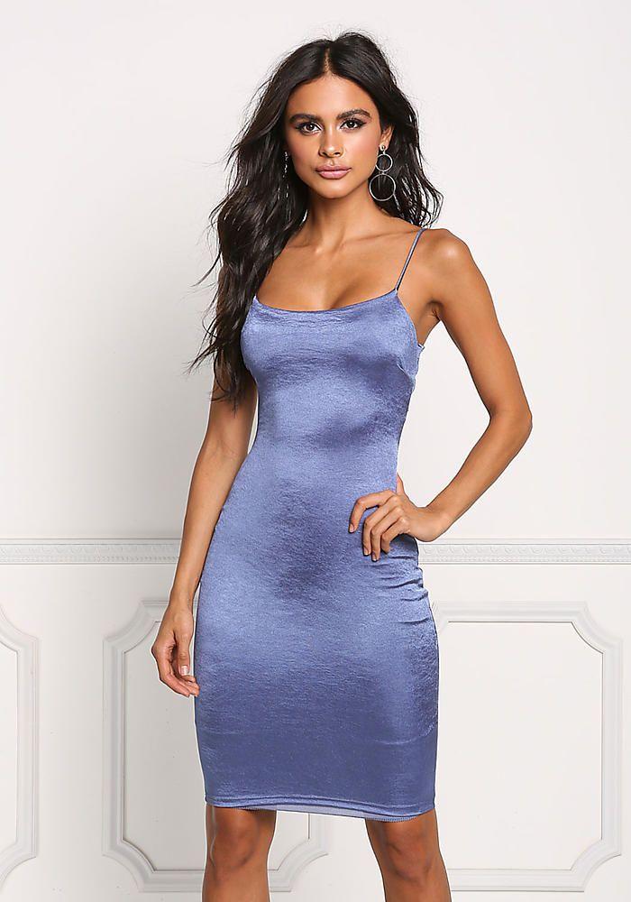 Blue Cross Strap Lustrous Knit Bodycon Dress - Going Out - Dresses