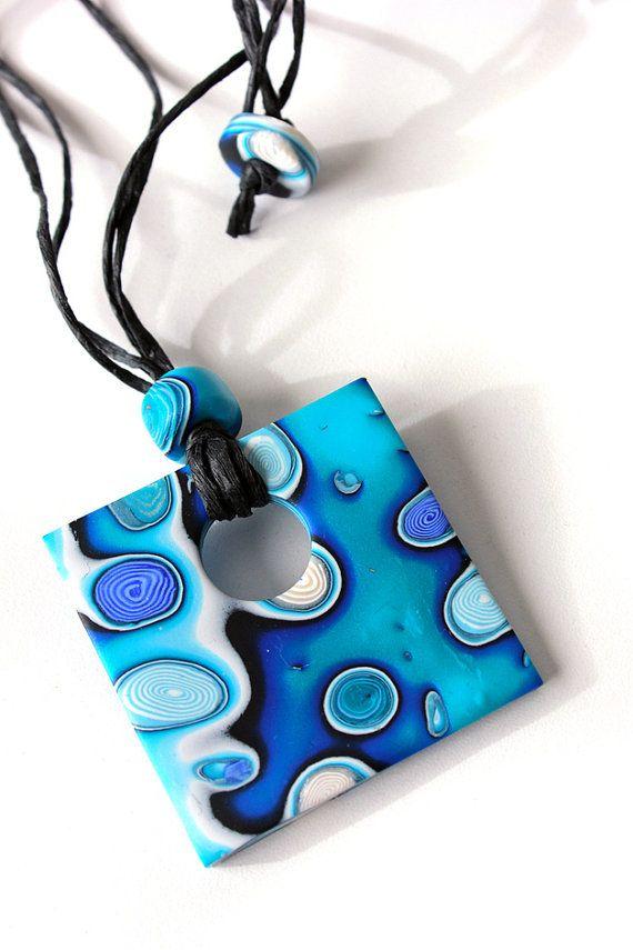 Mokume Gane Blue Square Pendant by SilviaOrtizDeLaTorre on Etsy polymer clay