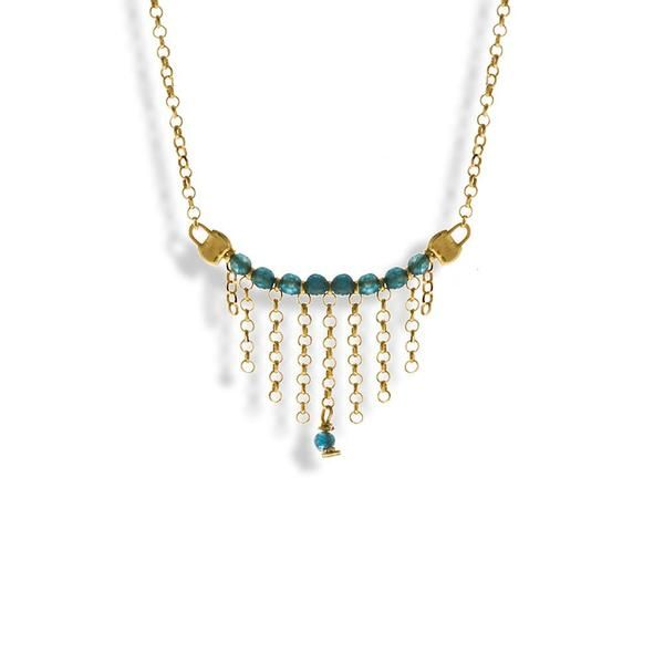Handmade Gold Plated Silver Short Chain Necklace With Sky Blue Crystals - Anthos Crafts - 1