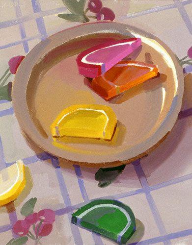 Karen O'Neil - Artist's Network Candy Fruit Slices (oil, 20×16)