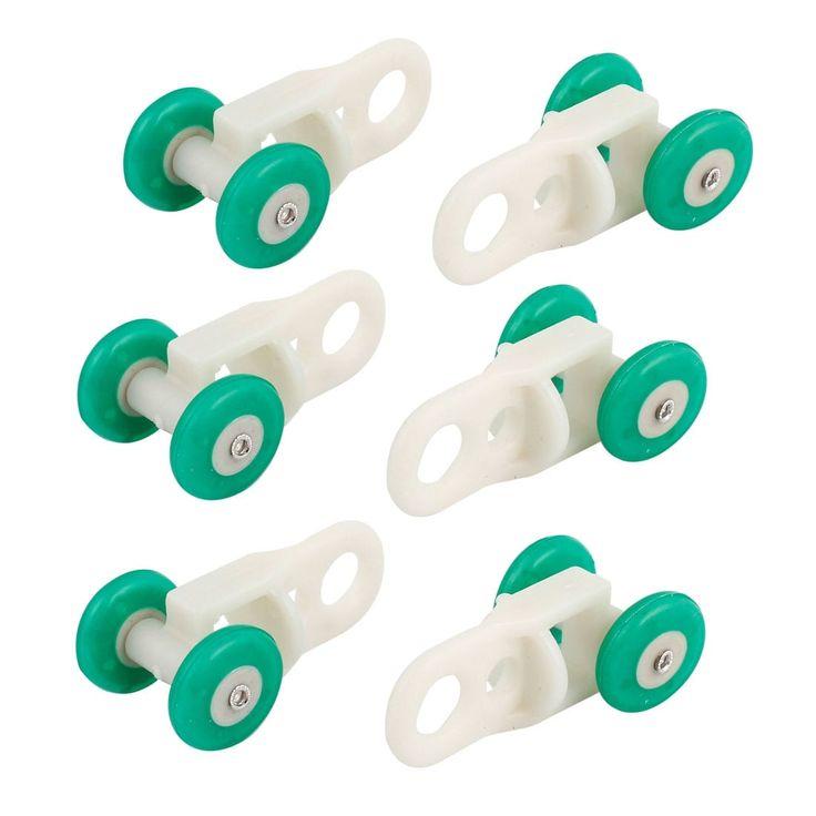 Unique Bargains 6 Pcs Home Bedroom Plastic Curtain Track Rail Rollers 0.5 Dimeter Wheel, Green