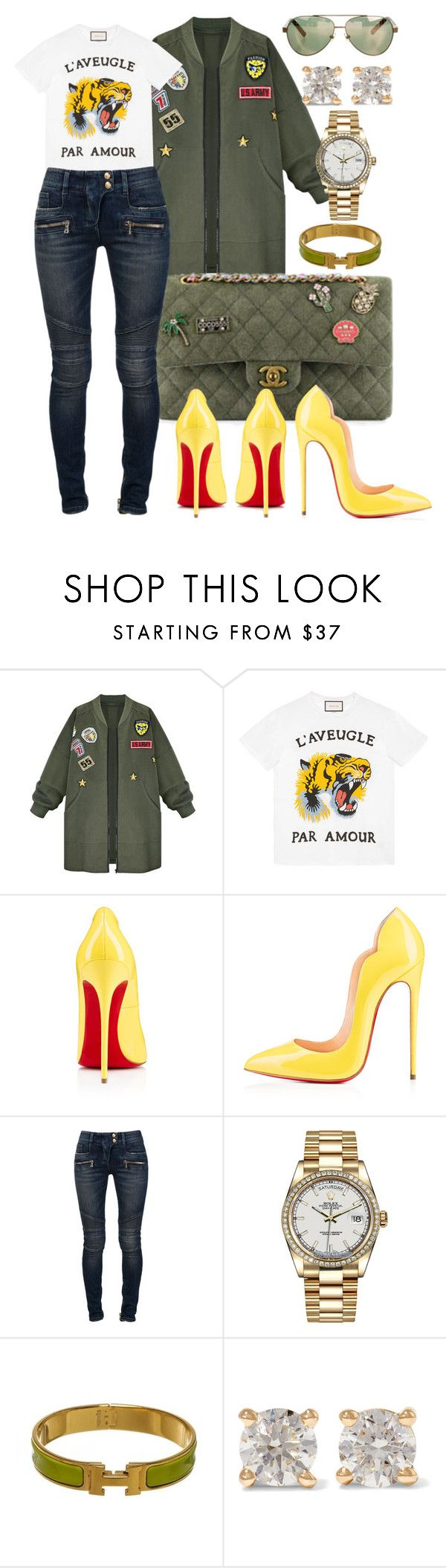 """""""Untitled #458"""" by scannedbyaaron ❤ liked on Polyvore featuring WithChic, Gucci, Chanel, Christian Louboutin, Balmain, Rolex, Hermès, Anita Ko and David Yurman"""