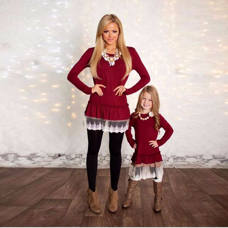 Mommy and Me Matching Mother and Daughter Solid Long Sleeved Lace Bottom Top