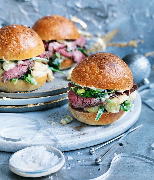 ere's a twist on a classic pairing. We've baked our own buttermilk rolls - they're the perfect springboard to let the roast beef eye fillet and creamy salad shine.