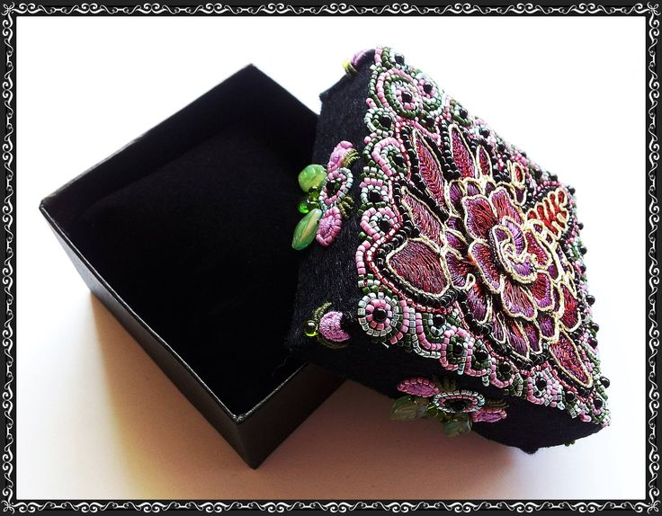 Embroidered and Beaded Jewellery box , Flower motif is a gorgeous cutting from lace incorporated into the design . 2015