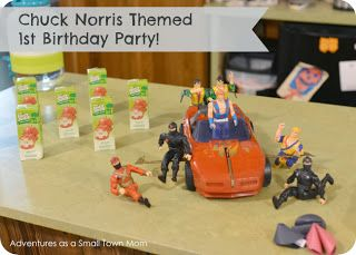 Big Guy's Chuck Norris Themed 1st Birthday Party! via Adventures as a Small Town Mom