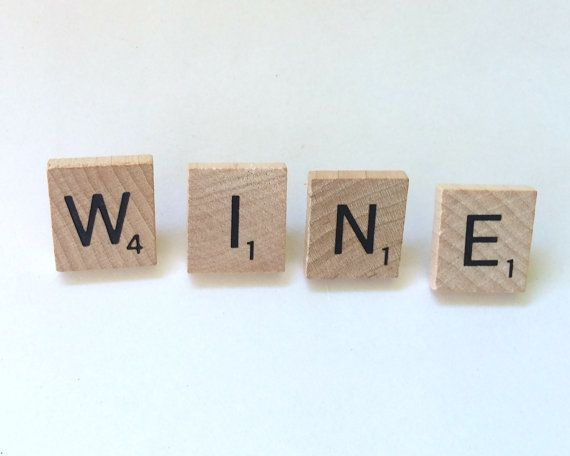 WINE Scrabble Tile Push Pins, Scrabble Letters, Thumb Tacks, Office & School Corkboard, Bulletin Boards, Office Decor