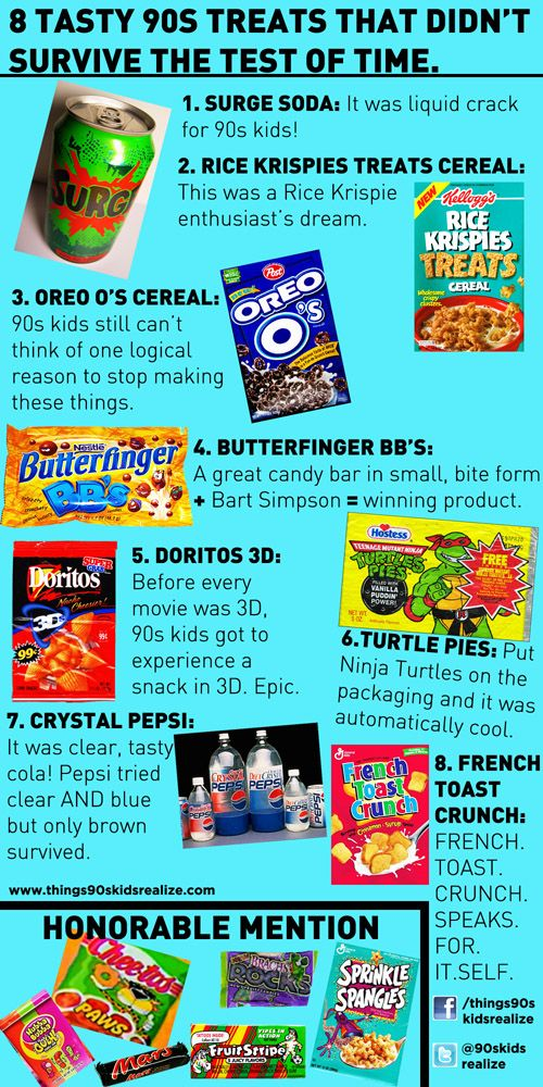 You know these were all awesome! Butterfinger BB's! Oreo O's! Rice Krispy Treat cereal! 3-D Doritos! :)90S Kids, 3D Doritos, French Toast, Toast Crunches, Memories, Childhood, The 90S, Rice Crispy Treats, Rice Krispie Treats