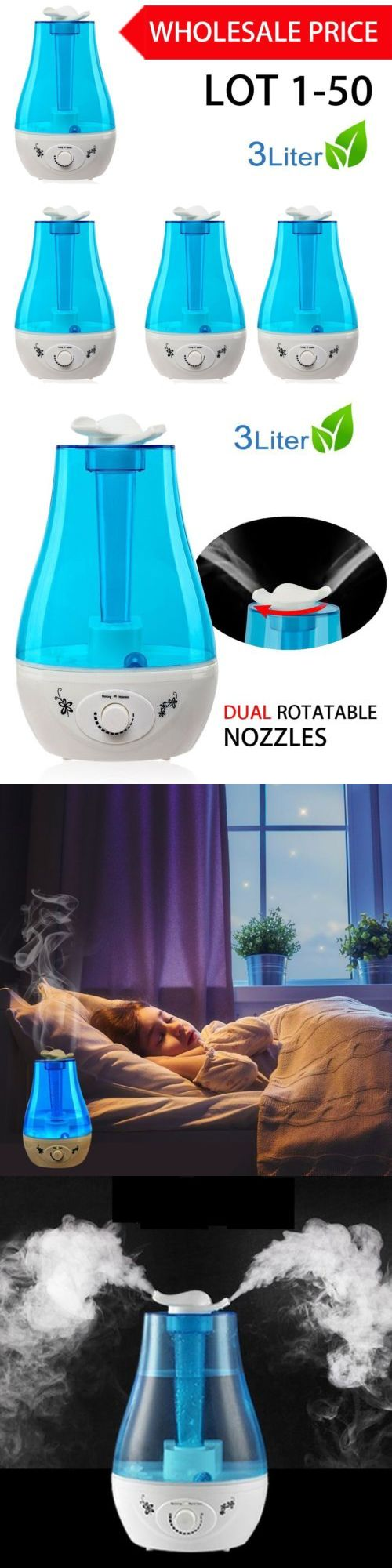 Humidifiers 71240: 3L Ultrasonic Humidifier Cool Air Diffuser Purifier Home Office Room Lot 1-50 Mx -> BUY IT NOW ONLY: $865.55 on eBay!