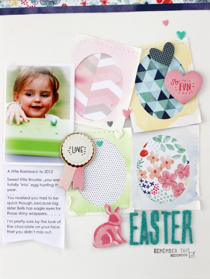 Easter layout from Jot Girl Mardi Winen