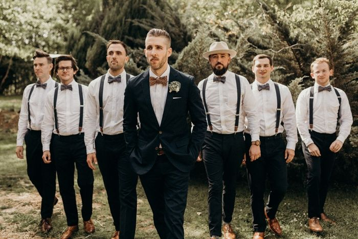 Brown bowties + suspenders   Image by Vic Bonvicini Photography