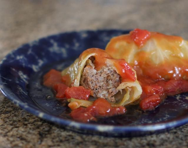 Ground Beef- and Rice-Stuffed Cabbage Rolls