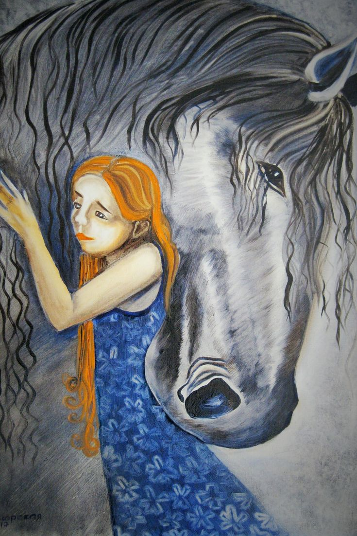 "A Girl and a Horse. Original Oil Painting on Canvas. 16"" x 20"". 50,8 x 40,6 cm. 2017. Inspired by artwork of the artist Nadezhda Ilyna (Saint-Petersburg). Unframed. Ready to hang. Painted edges. AVAILABLE FOR IMMEDIATE PURCHASE.   This is an ORIGINAL oil painting on a wrapped stretched canvas. I have created this beautiful piece by hand so you can enjoy it in your own home. Display it in your own house or office to brighten up any room. It will make a great gift, too."