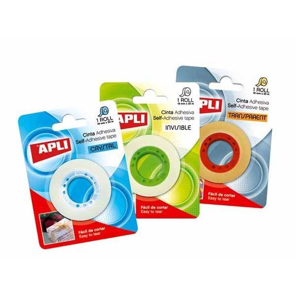 Comprar Cinta Adhesiva Transparente en Blister 19x33m Apli 11517  #oficina #comercio #colegio #hogar #casa #mateialescolar #manualidades #adhesivo #cintas #invisible #blister