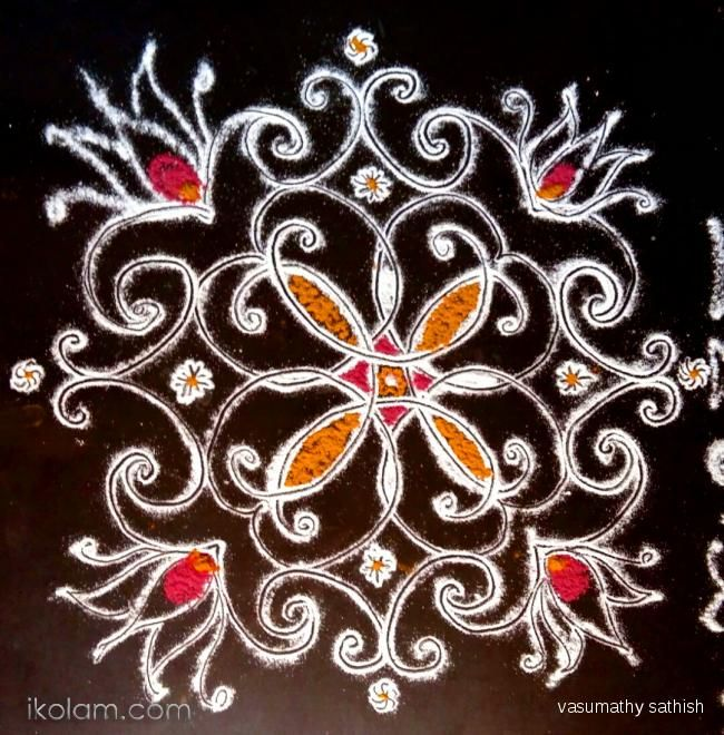 Rangoli Padi Kolam: Small padi  kolam  in my Pooja  slab  by vasumathy sathish