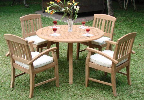 """New 5 Pc Luxurious Grade-A Teak Dining Set -52"""" Round Table And 4 Arm Chairs [Model:SM1] by WholesaleTeak. $1085.99. 52"""" Round Table and includes umbrella hole in the center of table.. Dining Chair Dimension: 23"""" Width x 23"""" Depth x 36"""" Height. Table Dimension: 52"""" Round Table, 30.5"""" H. ADD SUNBRELLA FABRIC CUSHIONS BY SEARCHING """"Wholesaleteak Dining Cushion"""" ON AMAZON, CUSTOM MADE FOR THESE STYLE CHAIRS. Pictures shown with Arm & Armless chair combination. You wil..."""
