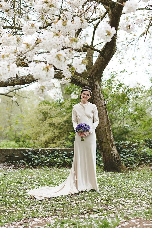 An Original Vintage Diamond Panel Full Sleeved 1930s Wedding Dress Edwardian Wax Orange Blossom Flower Crown