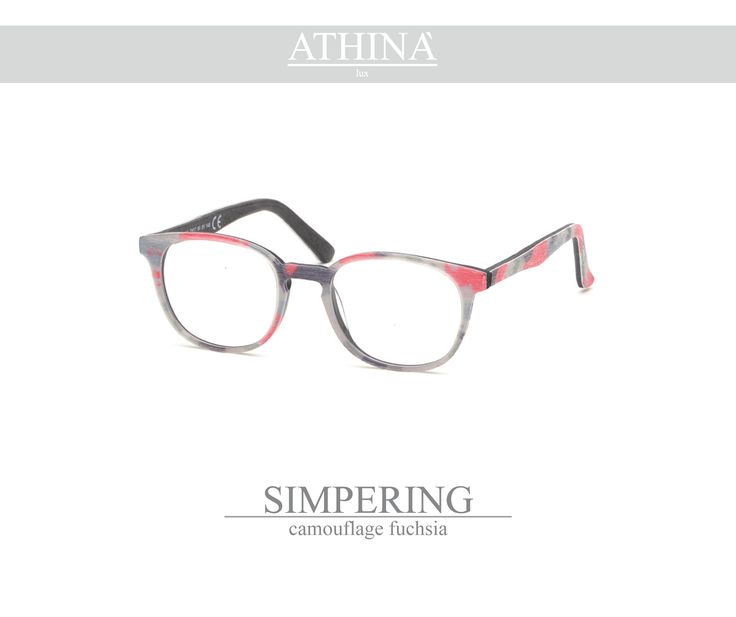Mod. SIM1414V light nd trendy-shaped in pure acetate of cellulose with polished camouflage fuchsia frame.
