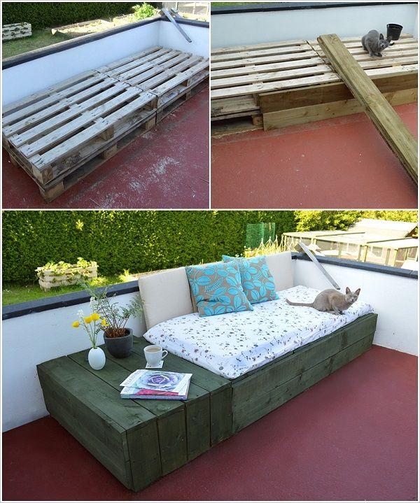 diy pallet daybed terrassen deko pinterest balkon. Black Bedroom Furniture Sets. Home Design Ideas