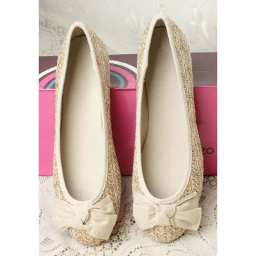 Breathable Cute Bow Straw Plaited Women's Flats for Summer Free Shipping