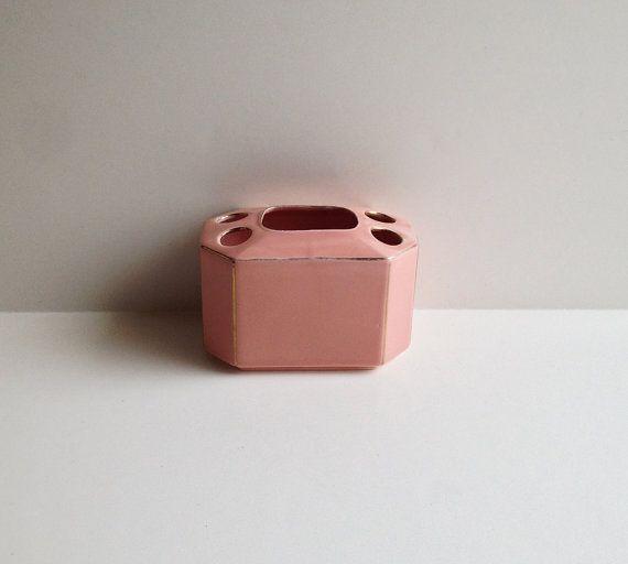 Vintage Ceramic Toothbrush Holder / Pink and by littlebearandbunny, $15.00
