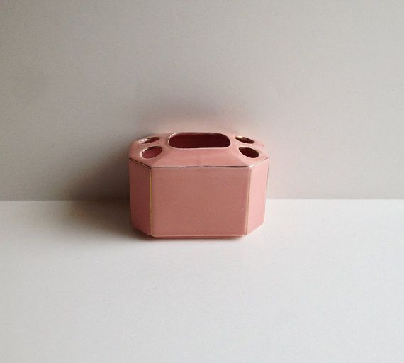 Vintage Ceramic Toothbrush Holder / Pink and Gold / Mid Century / Romantic Vanity / Pale Pink / Vintage Bathroom / Cottage Chic Shabby Chic