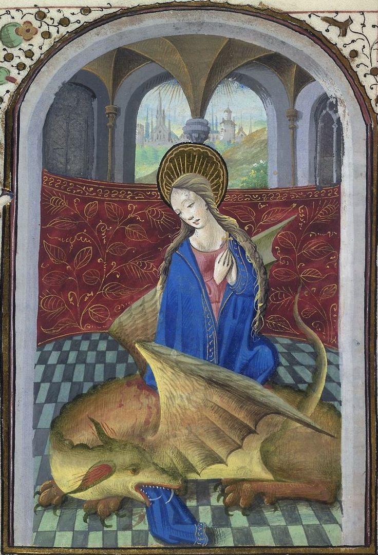 St Margaret emerging from the dragon (detail of f°165v) -- Book of Hours, Troyes? (France), 1460-147 [BL Harley MS 2974]