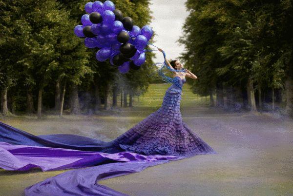 Joyeux Anniversaire - Ballons violet