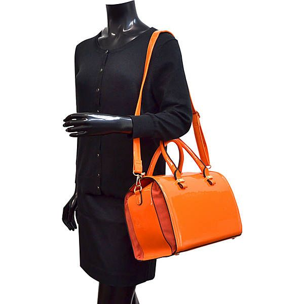 Dasein Patent Faux Leather Barrel Body Satchel