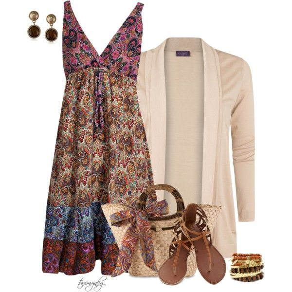 Paisley Sundress by tammynky on Polyvore featuring Boohoo, MANGO and Vintage America … Not a fan of the cream blazer