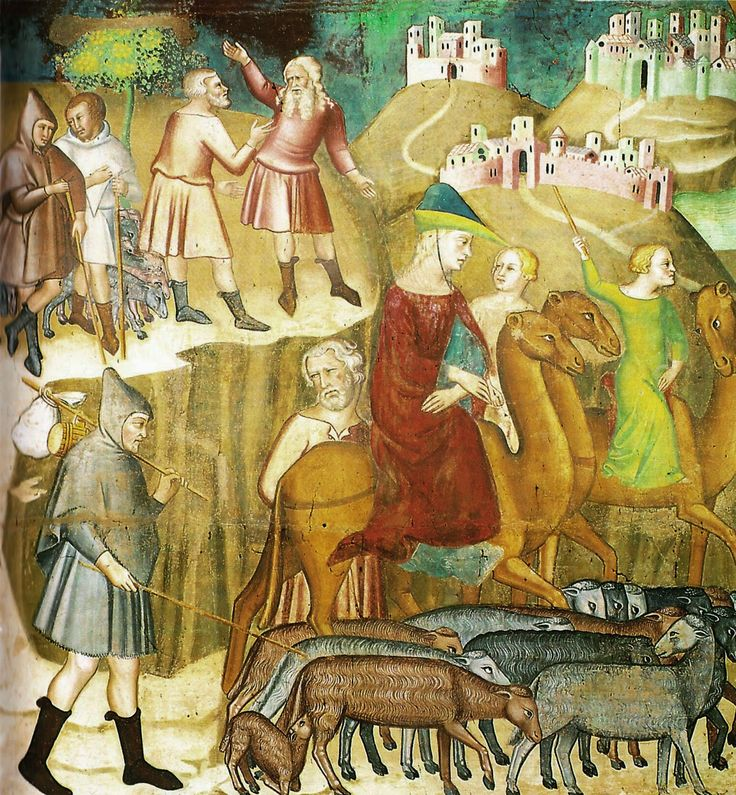 1367, Bartolo di Fredi, Abraham and Lot separate  in the Land of Canaan. Italy.