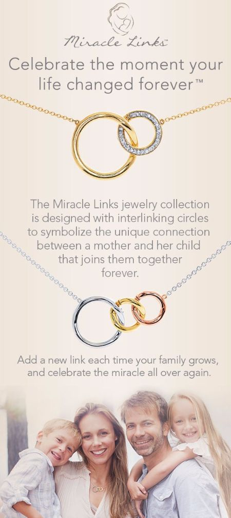 The Miracle Links Jewelry Collection is designed with interlinking circles to symbolize the unique connection between a mother and her child that joins them together forever. Stop by and shop the Miracle Links in Kay Jewelers at the Colonial Park Mall, Harrisburg, Pa today.