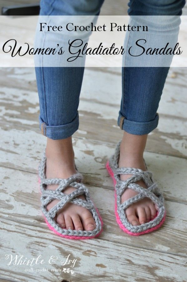 Free Crochet Pattern: Crochet Women's Gladiator Sandals   Perfect for lounging comfortably or enjoying the evening weather on your deck.