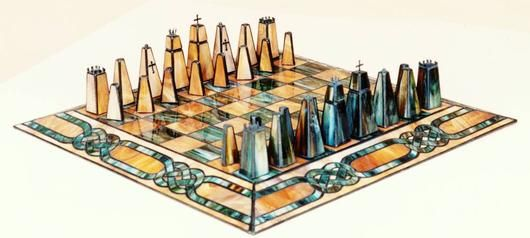 "2012 Sculpture 1st. Place ""Stained Glass Chess Set"" by Dale"
