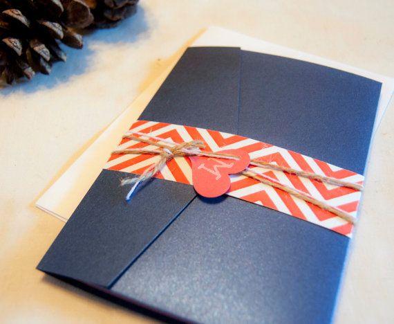 Rustic wedding invitation, navy wedding invitation, coral wedding invitation on Etsy, $2.00