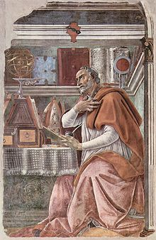 Augustin d'Hippone ou saint Augustin, né à Thagaste (actuelle Algérie) en 354, est un philosophe et théologien chrétien de l'Antiquité tardive, et un écrivain latino-berbère romano-africain, né d'un père romano-africain citoyen romain et d'une mère berbère chrétienne non romanisée. Il est l'un des quatre Pères de l'Église latine et l'un des 35 docteurs de l'Église. Considéré comme un platonicien chrétien proche de Plotin, il rejette les notions de transmigration des âmes et de réminiscence.