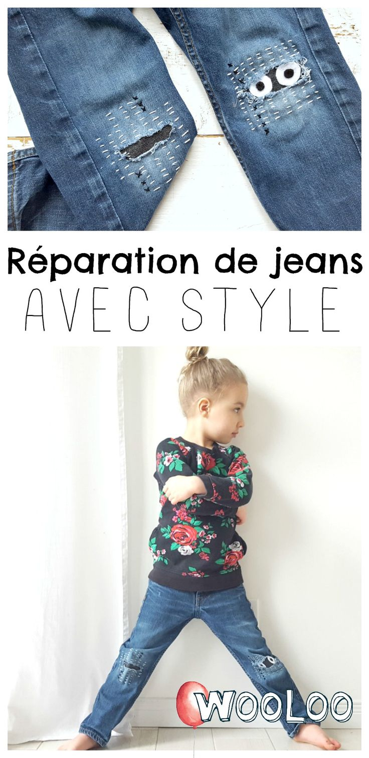 Encore des trous sur les genoux des enfants? Avec la #broderie #Boro et #Sashiko, vous ne verrez plus les patchs de jean de la même façon! #couture #patch #jeans #enfants #funstuff