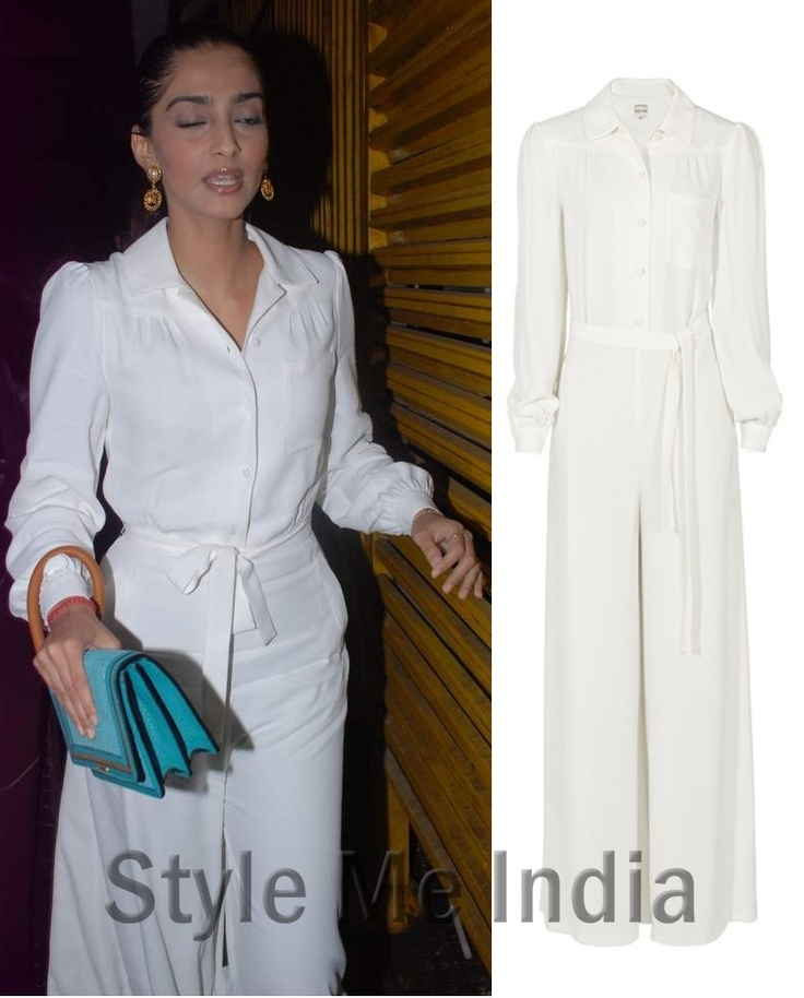 Sonam Kapoor packs a punch in a cream Reiss Tyler jumpsuit!! http://shar.es/stMLP