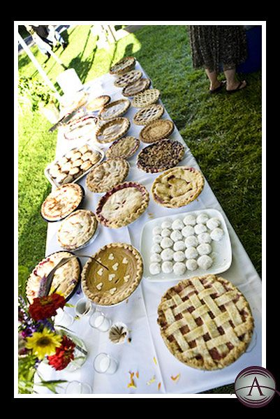 Farm wedding pie table!