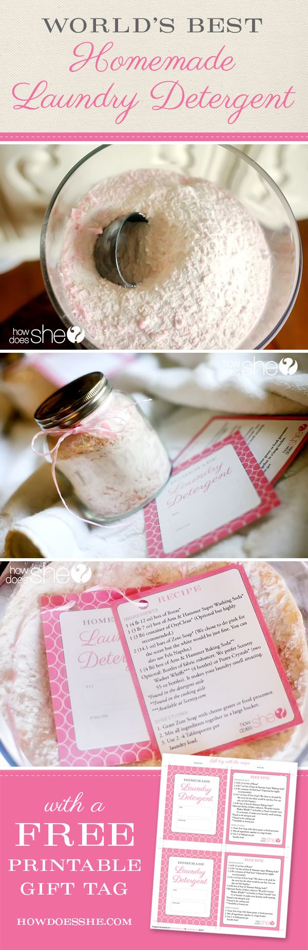 DIY and Crafts. Thousands of people have tried this recipe, and it seriously is The World's Best Homemade Laundry Detergent – There is a tutorial and free printable on how to gift if to friends/family.