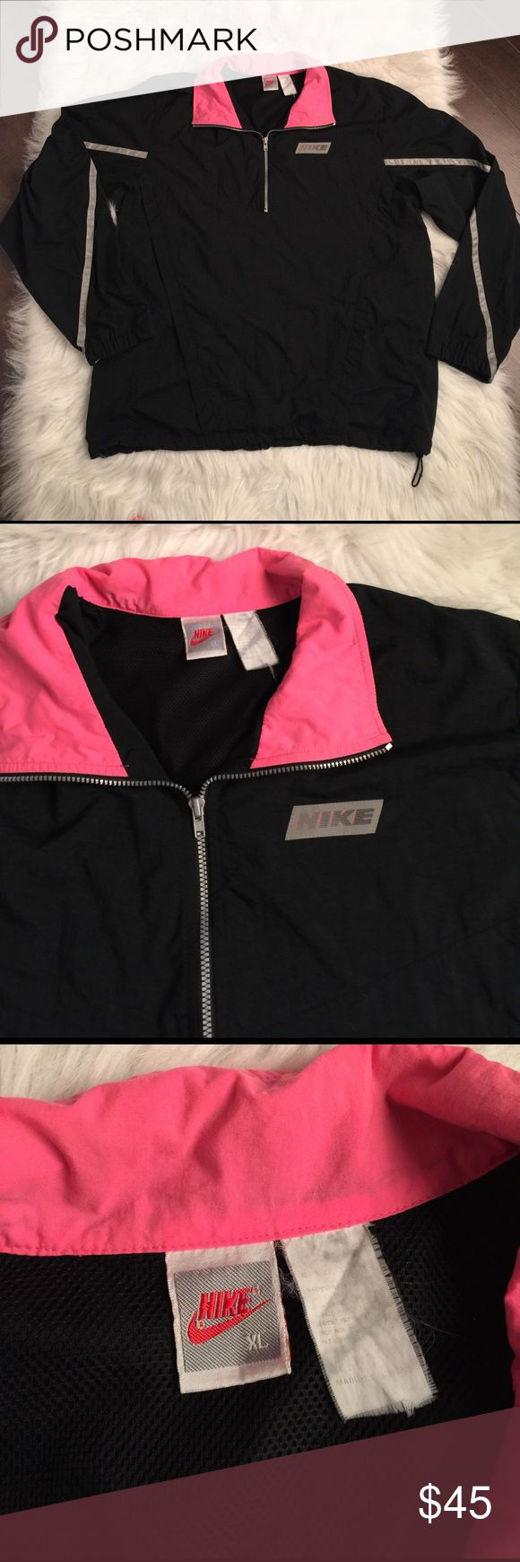Vintage Nike jacket. Vintage Nike windbreaker Excellent condition vintage 90s Nike windbreaker jacket. Black with reflective silver and neon pink. Size extra large with drawstring bottom. All zippers work, no stains or holes. Please see photos for wear and details. No low ball offers, reasonable offers considered. Nike Jackets & Coats Utility Jackets