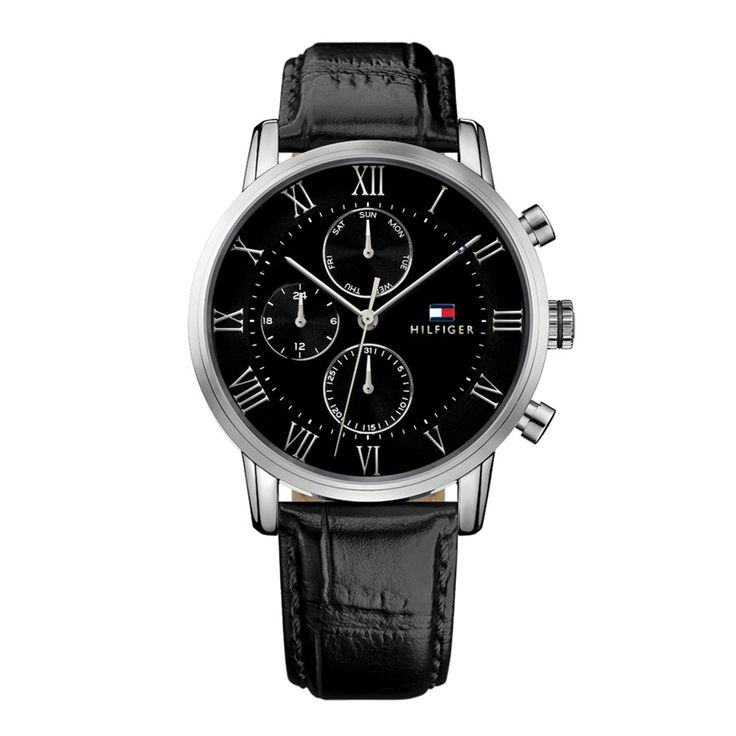 Ανδρικό ρολόι TOMMY HILFIGER 1791401 Kane με ημερομηνία, ημέρα, 24ωρη ένδειξη, ασημί καντράν & μαύρο λουρί | Ρολόγια TOMMY HILFIGER ΤΣΑΛΔΑΡΗΣ στο Χαλάνδρι #tommyhilfiger #kane #λουρι