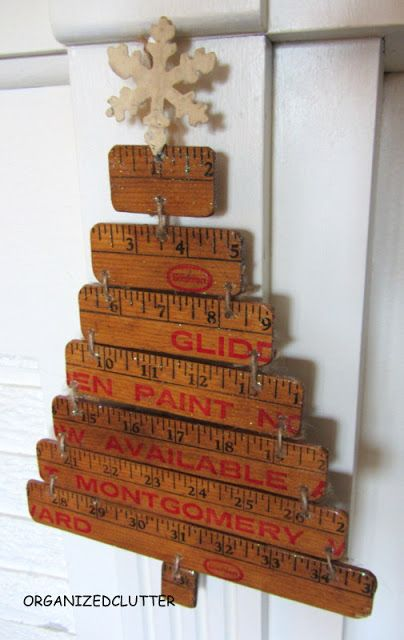 I'm kind of hung  up on Christmas trees this year... here is another crafty tree, made from a yardstick - from Organized Clutter.
