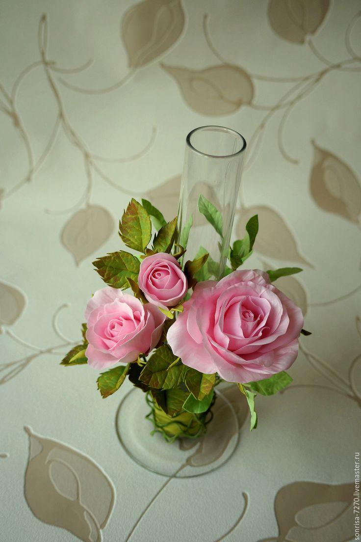 """Купить Ваза """"В нежности"""" - комбинированный, ваза, цветочная композиция, цветы в украшении"""