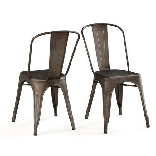 Metal Tolix Outdoor Dining Set of 2 Industrial Steel Chairs Vintage Cafe Patio