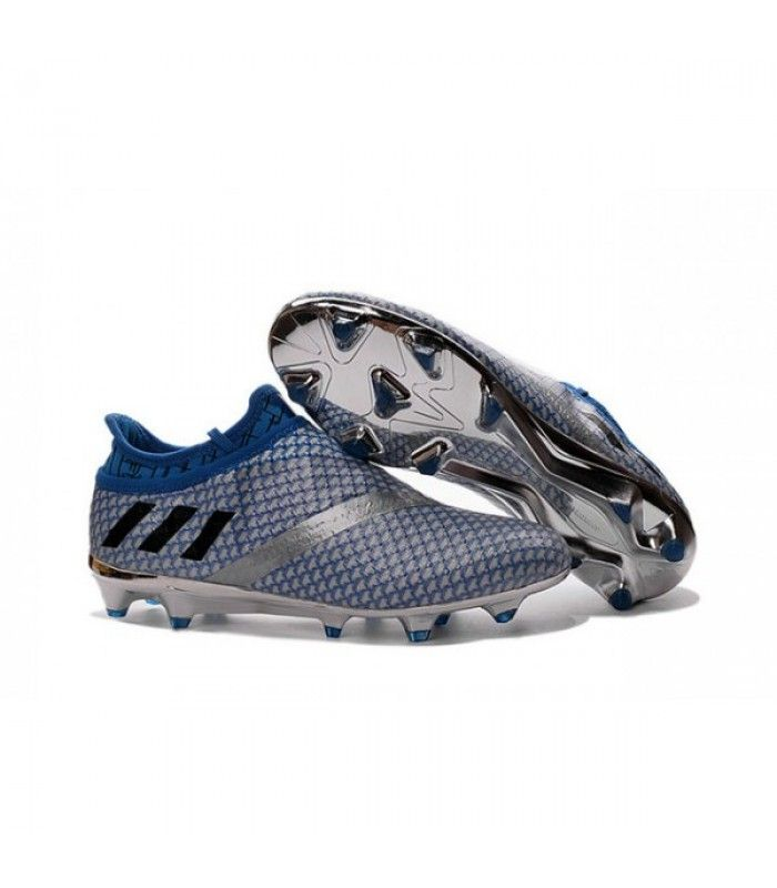 Acheter Adidas Messi 16+ Pureagility FG/AG Chaussures de football pour Homme Argent Noir Bleu pas cher en ligne 119,00€ sur http://cramponsdefootdiscount.com